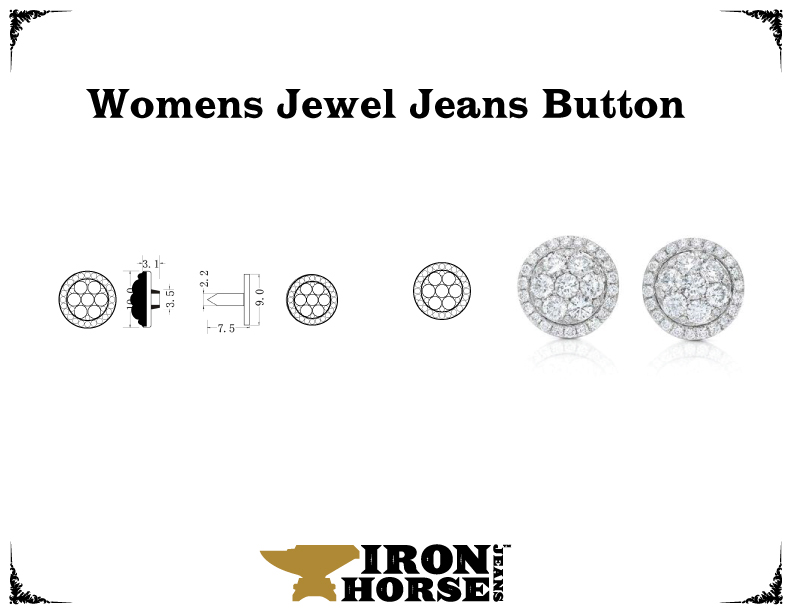 Womens jeans jewel button